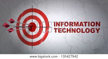 Success Data concept: arrows hitting the center of target, Red Information Technology on wall background, 3D rendering