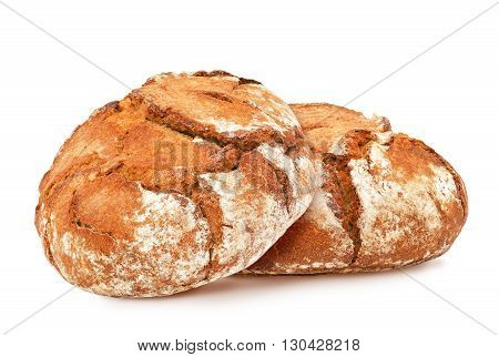 Two freshly baked loaves of traditional round rye bread isolated on white background. Design element for bakery product label, catalog print, web use.