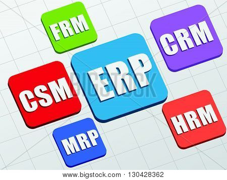 ERP, CSM, FRM, CRM, HRM, MRP - white text in colorful flat design banners, business management systems concept, vector