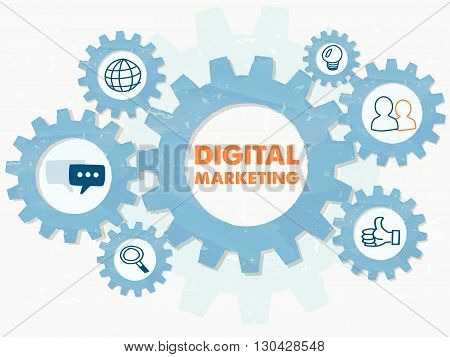 digital marketing and symbols in grunge flat design gear wheels infographic, business technology advertise conceptual words and signs, vector
