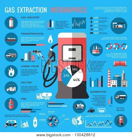 Natural gas extraction infographics with station in center industrial elements statistics diagrams on blue background vector illustration