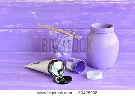 Hand painted bottle.How to decorate ordinary glass jar. Lilac acrylic paint, brush, set for decorative glass jar. Home accessories