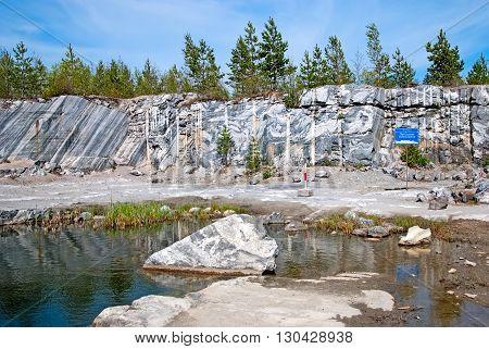 RUSKEALA, KARELIA, RUSSIA - MAY 14, 2016: Italian Quarry and Marble Lake in The Mountain Park