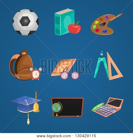 Cartoon education icon set with school equipment for student and other education stuff vector illustration