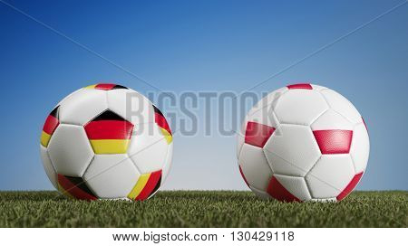 Germany vs. Poland in soccer match during european championships (3D Rendering)