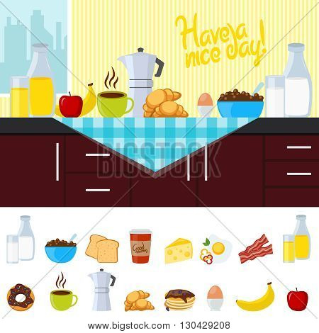 Breakfast flat composition with icon set at the bottom and poster have a nice day on top vector illustration