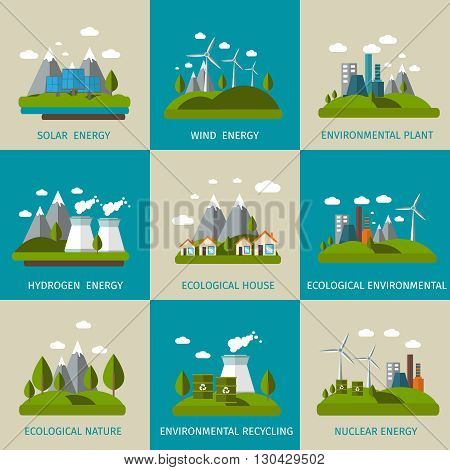 Ecology icon flat set with descriptions of solar wind hydrogen nuclear energy ecological house ecological nature vector illustration