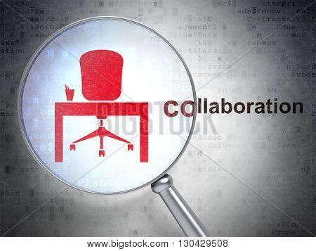 Finance concept: magnifying optical glass with Office icon and Collaboration word on digital background, 3D rendering