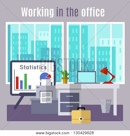 Office flat poster with title working in the office and many different stuff in cabinet vector illustration