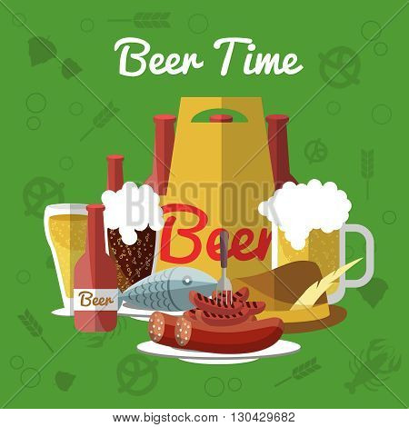 Beer flat composition with description of pint of beer and snacks in center on green background and  with inscription beer time vector illustration