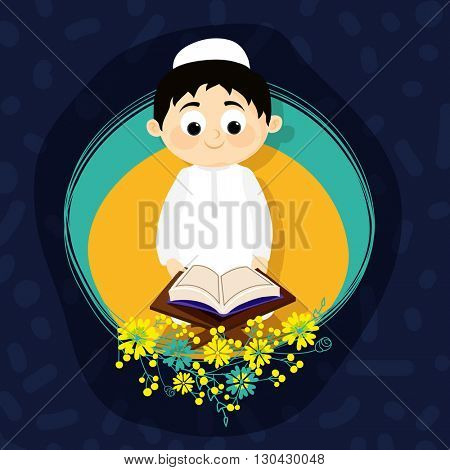 Cute Muslim Boy reading Holy Book