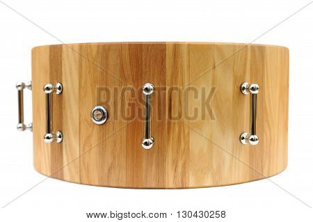 Wooden base for drum isolated closeup macro