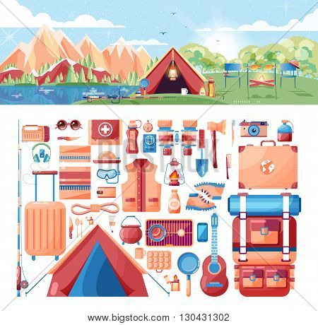 Stock vector illustration of day landscape, mountains, sunrise, travel, hiking, nature, tent, campfire, camping, set of sports equipment for outdoor activities in flat style element for info graphic