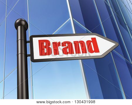 Advertising concept: sign Brand on Building background, 3D rendering