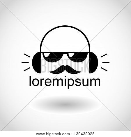 The logo for a music company or shop with a silhouette of a DJ with a mustache and wearing headphones