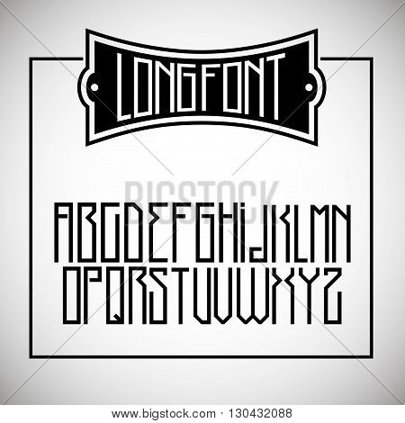 Narrow long font similar to the simplified Gothic or Cyrillic alphabet in vector graphics
