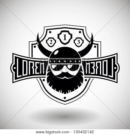 Emblem with a sign in the style of hard rock with a silhouette of a Viking head or biker in helmet with horns