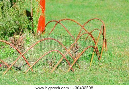 Original decor garden plot with red twigs