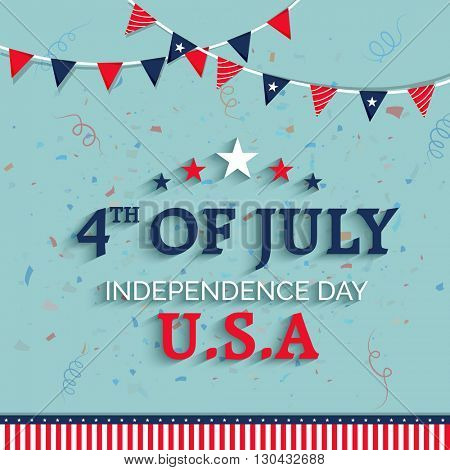Elegant Greeting Card design with Stylish Text 4th of July on Flag color buntings decorated background for American Independence Day celebration.