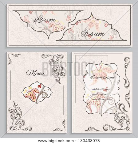 Set floral vintage ornament menu, cards and invitations, menu with a pattern in the Victorian style. Can be used to print design for restaurants. Vector illustration