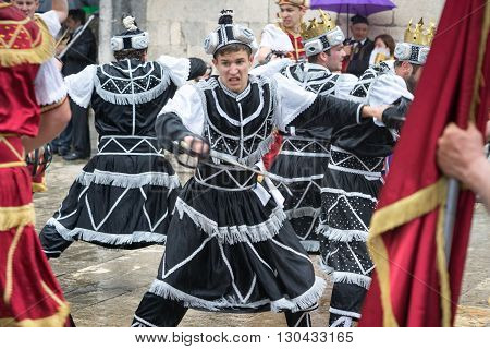 Perast, Montenegro - May 15, 2016: Shooting The Kokot (rooster) Celebration. Celebrates The Liberati