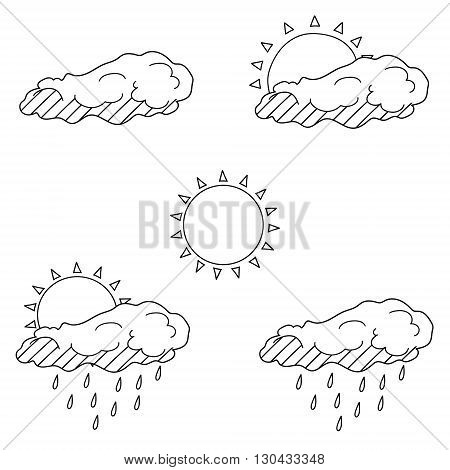 Vector line art Doodle set of cartoon characters and objects weather forecast. Coloring Book