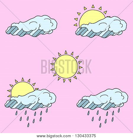 Vector line art Doodle set of cartoon characters and objects weather forecast.