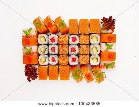 Japanesse cuisine. Sushi set isolated on white background.