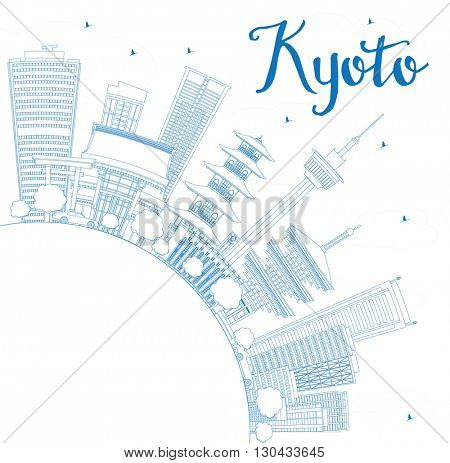Outline Kyoto Skyline with Blue Landmarks and Copy Space. Vector illustration. Business Travel or Tourism Concept with Modern and Historic Buildings. Image for Presentation Banner Placard and Web Site