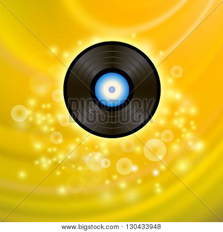 Retro Vinyl Disc on Yellow Blurred Background