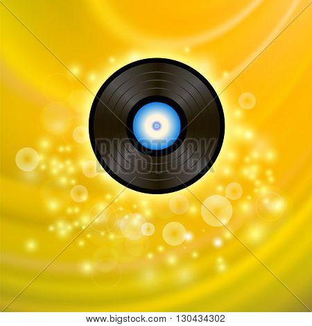 Retro Vinyl Disc on Yellow Blurred Background