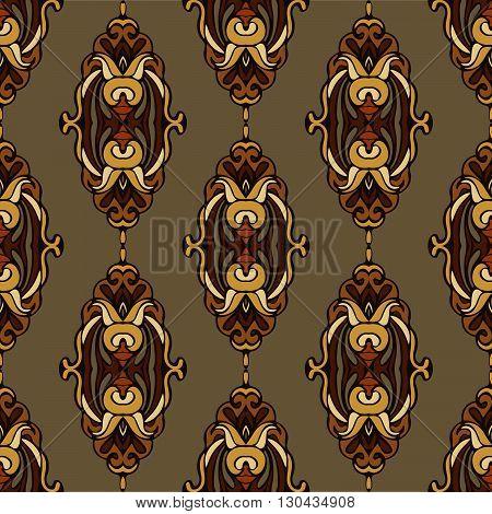 vintage seamless pattern rapport damask floral. flourish design style
