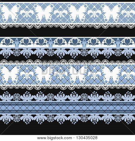 Seamless lace lacy ribbon washi tapes pattern background print