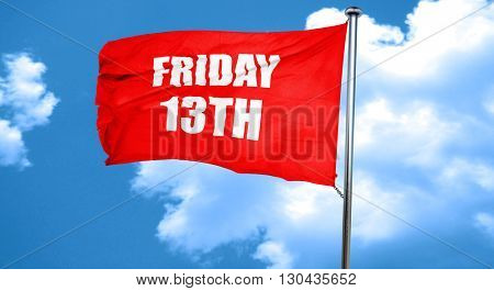 friday 13th, 3D rendering, a red waving flag