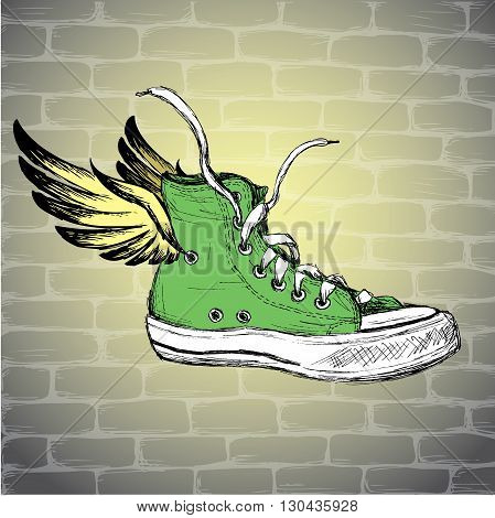Vintage Sneakers with wings Hand Drawn vector illustration.