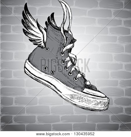 Vintage Sneakers with wings Hand Drawn vector illustration