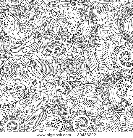 Black And White Seamless Floral Background. Design For Adults And Older Children Coloring Book. Cove