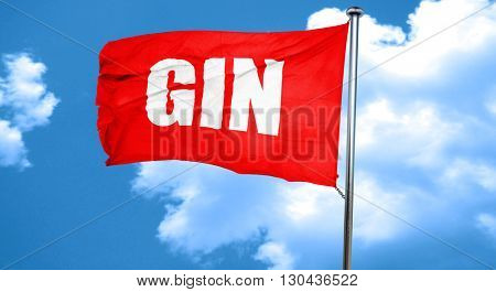 gin, 3D rendering, a red waving flag