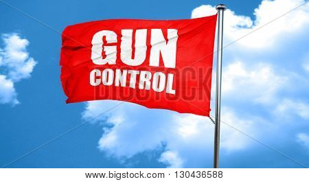 gun control, 3D rendering, a red waving flag