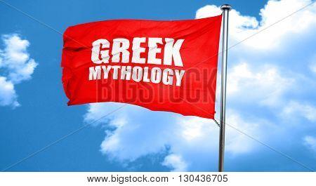 greek mythology, 3D rendering, a red waving flag