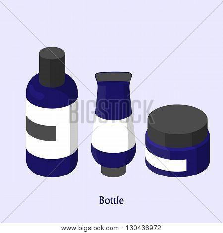 bottles for shampoo and cream in a beauty salon. Isometric vector illustration