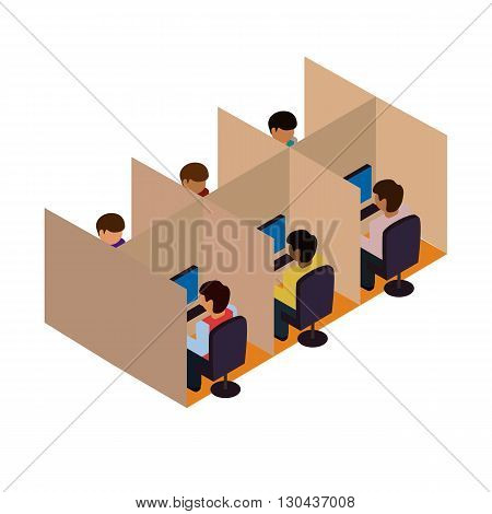 Incoming call center. incoming. Isometric vector illustration. People work