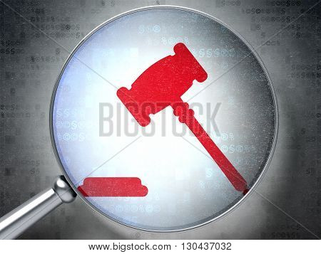 Law concept: magnifying optical glass with Gavel icon on digital background, 3D rendering
