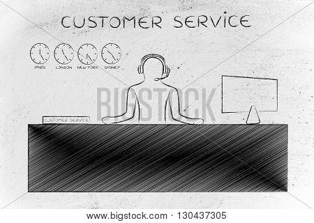Customer Support Employee Answering Calls, Customer Service