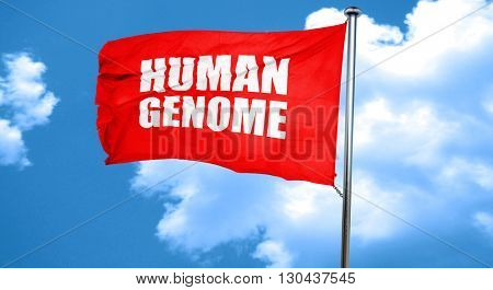 human genome, 3D rendering, a red waving flag
