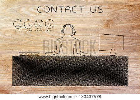 Customer Service Desk With Employee Answering Calls, Contact Us