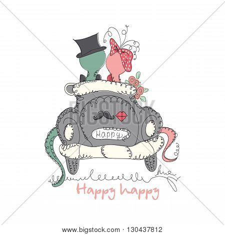 Vector Hand drawn romantic universal trendy card with characters cute hipster snake. Doodle love Design for Wedding, marriage, bridal, birthday, Valentine's day, party invitations, holidays