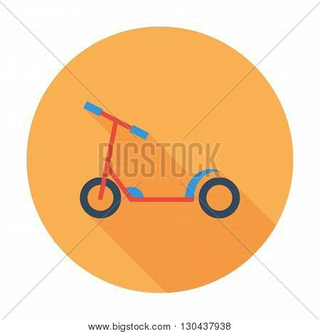 Scooter child icon. Flat vector related icon with long shadow for web and mobile applications. It can be used as - logo, pictogram, icon, infographic element. Vector Illustration.