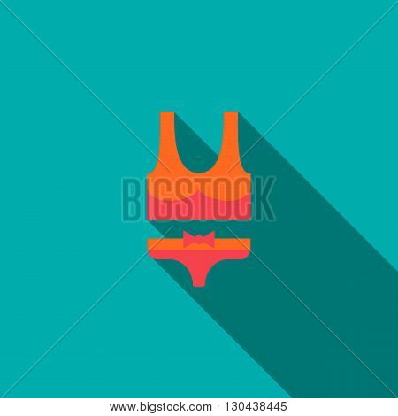 Woman swimming suit icon in flat style on green background. Female swimsuit