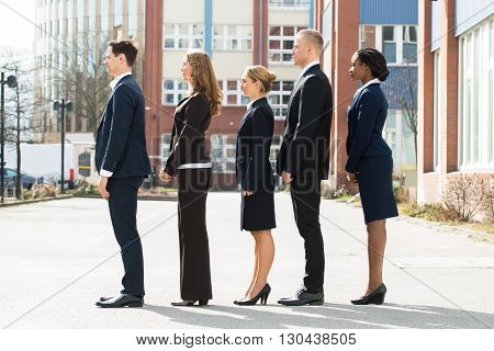 Group Of Multi-ethnic Businesspeople Standing In A Line;Outdoor